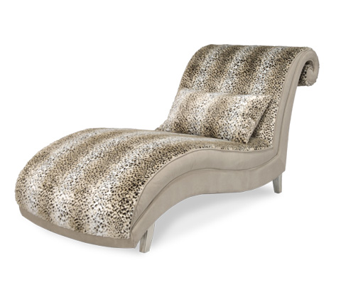 Image of Upholstered Armless Chaise with Scroll Back Design