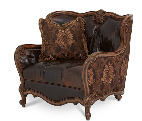 Image of Leather and Fabric Chair and a Half