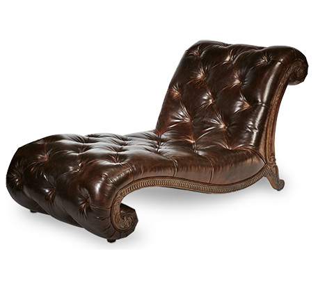 Image of Leather Armless Chaise