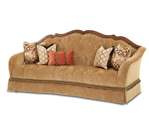 Image of Wood Trim Tufted Sofa
