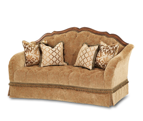 Image of Wood Trim Tufted Loveseat