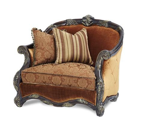Michael Amini - Wood Trim Chair and a Half - 76838-DPBRN-57