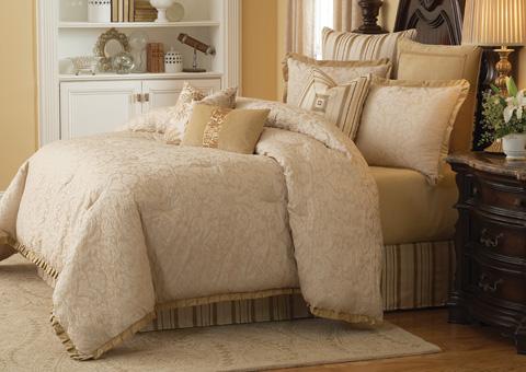 Michael Amini - Carlton Ten Piece King Comforter Set - BCS-KS10-CARLTON-IVY