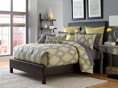 Michael Amini - Society Row Ten Piece King Comforter Set - BCS-KS10-SOCITY-SLA
