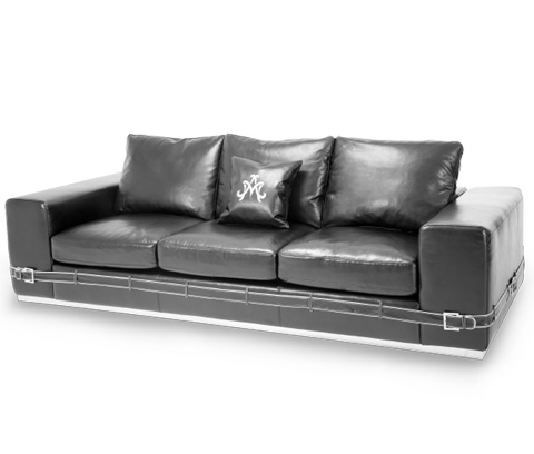 Michael Amini - Ciras Leather Mansion Sofa - MB-CIRAS16-BLK-13