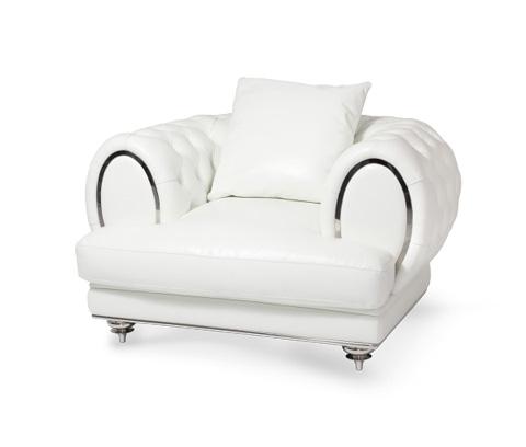 Michael Amini - Ellia Leather Tufted Chair and a Half - MB-ELLIA38-CRM-13