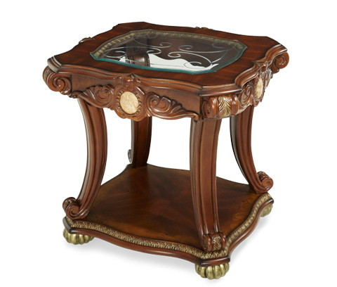 Image of End Table with Glass Insert