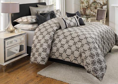 Michael Amini - Daytona Ten Piece King Comforter Set - BCS-KS10-DAYTON-SIL