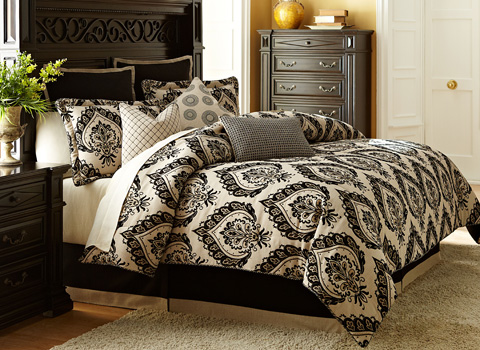 Michael Amini - Equinox Nine Piece Queen Comforter Set - BCS-QS09-EQNOX-SAN
