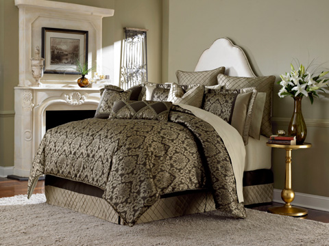 Michael Amini - Imperial Nine Piece Queen Comforter Set - BCS-QS09-IMPERL-BRZ