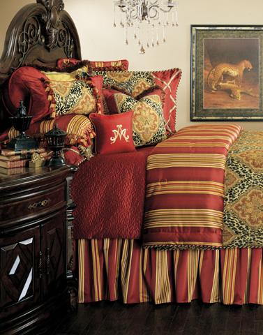 Michael Amini - Nobel Philippe Twelve Piece Queen Comforter Set - BCS-QS12-NBLPHL-RED