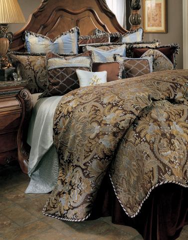 Michael Amini - Portofino Twelve Piece Queen Comforter Set - BCS-QS12-PRTFNO-BRN
