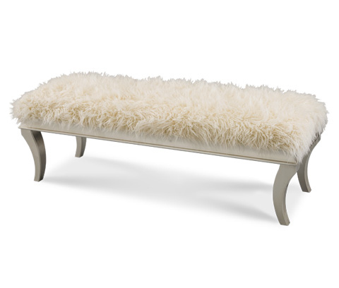 Image of Platinum Faux Sheepskin Bed Bench