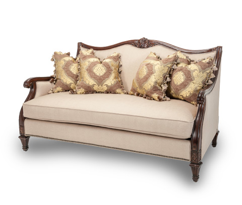 Michael Amini - Wood Trim Loveseat - 58825-STONE-44