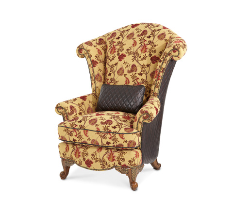 Image of Leather and Fabric Wing Chair