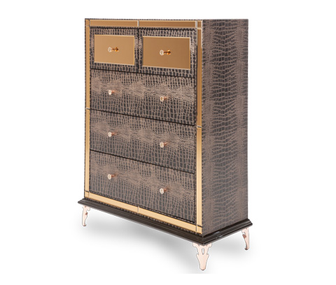 Image of Hollywood Loft Upholstered Five Drawer Chest