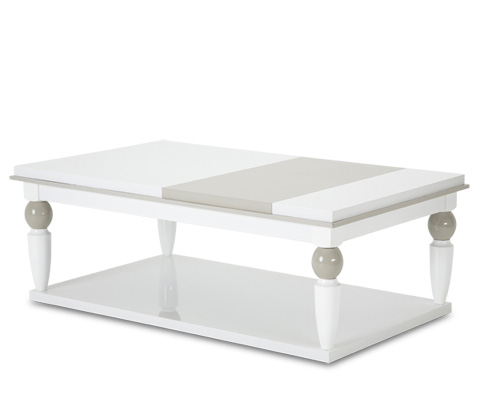 Michael Amini - Sky Tower Cocktail Table in Cloud White - 9025601-108