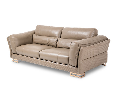 Image of Monica Leather Standard Sofa in Taupe Rose Gold