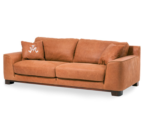 Michael Amini - Nafelli Leather Sofa in Clay and Espresso - MB-NAFLI15-CLY-43