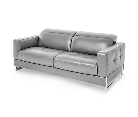 Image of Novelo Leather Loveseat in Dark Grey