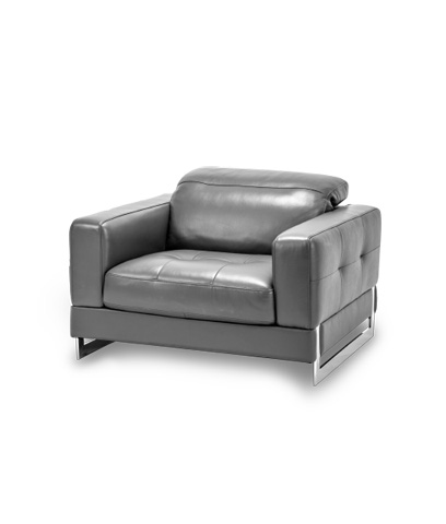 Image of Novelo Leather Chair in Dark Grey