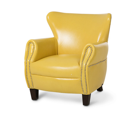 Michael Amini - Bladon Leather Accent Chair in Lemon Espresso - ST-BLADN35-LMN-43