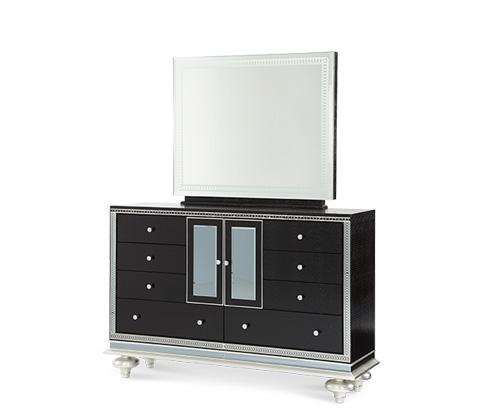 Michael Amini - Black Iguana Upholstered Dresser with Mirror - 03051-81/03060R-81