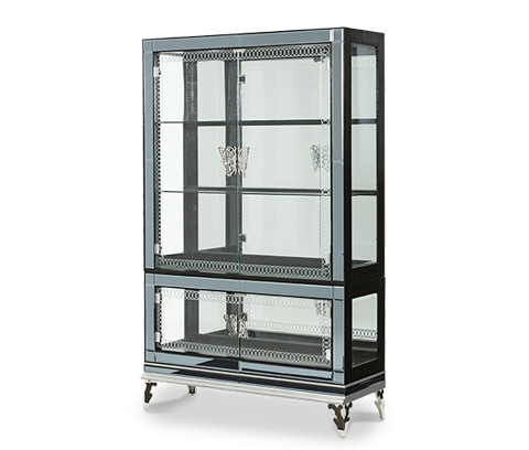 Michael Amini - Black Iguana Curio with Glass Doors - NU03505T-81/NU03505B-81
