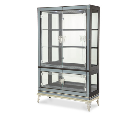 Michael Amini - Caviar Curio with Glass Doors - NU03505T-85/NU03505B-85