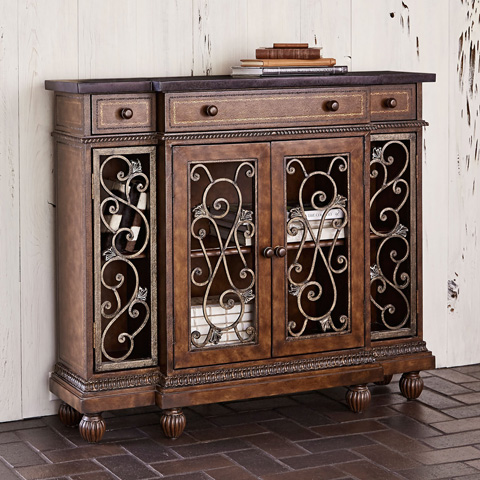 Ambella Home Collection - Scrollwork Showcase Hall Console Cabinet - 05095-820-001