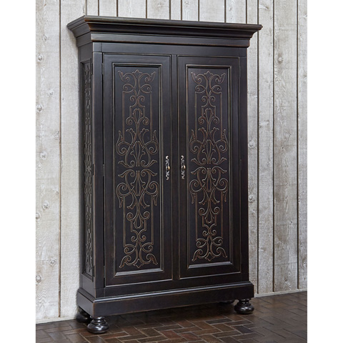 Image of Scrollwork Gate Armoire Storage Cabinet