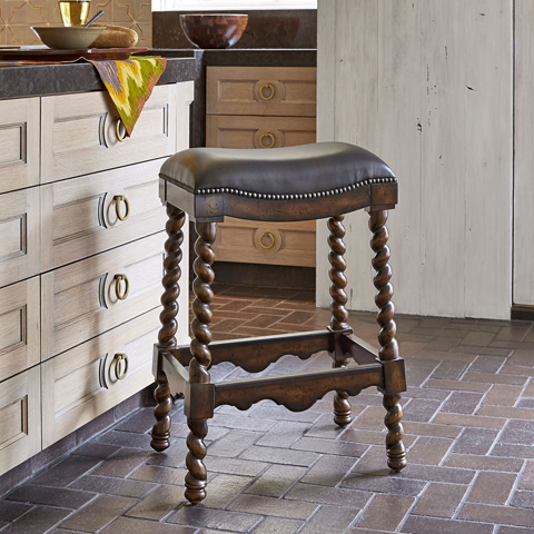 Image of Coventry Dark Leather Barstool