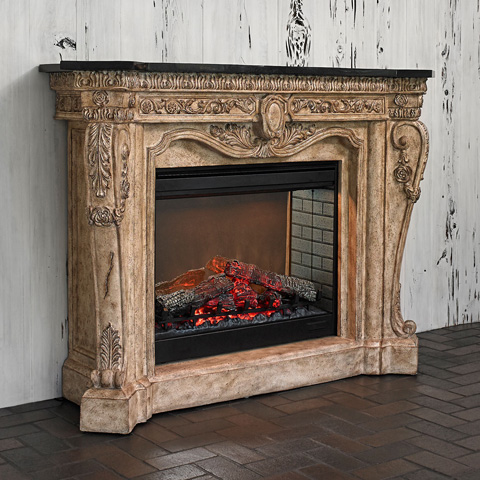 Ambella Home Collection - Floral Electric Fireplace - 01129-400-061