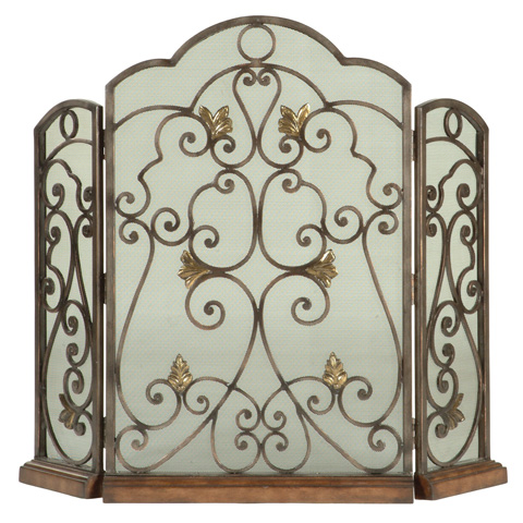 Ambella Home Collection - Scrolled Iron 3-Panel Fireplace Screen - 05127-460-001