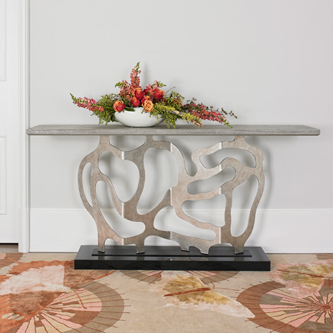 Ambella Home Collection - Sculpted Console in Silver - 07200-850-002
