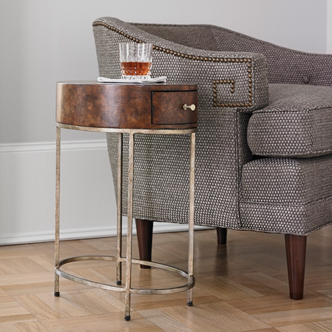 Ambella Home Collection - French Key Accent Table in Silver - 09126-900-011