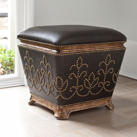 Ambella Home Collection - Studded Leather Stool - 20107-720-001