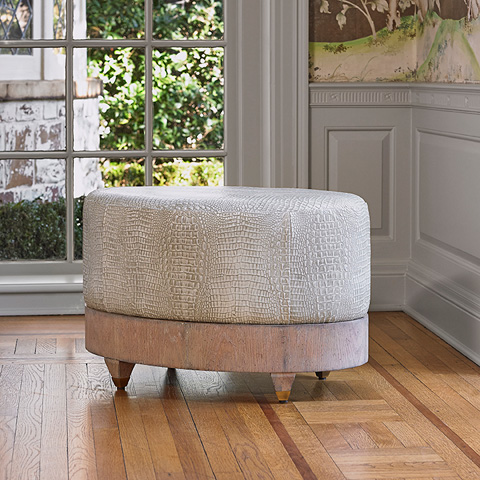 Ambella Home Collection - Oval Ottoman in Oak - 580-27-2