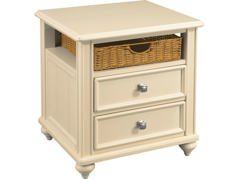 Image of Two Drawer End Table with Wicker Basket Storage