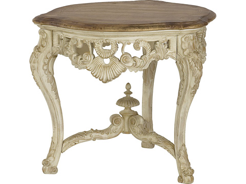 Image of Round Carved End Table