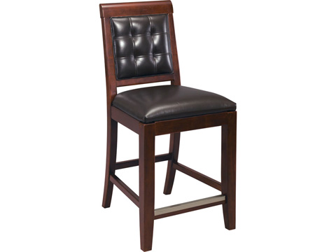 Image of Leather Counter Height Stool with Tufted Back