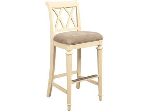 Image of Splat Back Upholstered Bar Height Stool