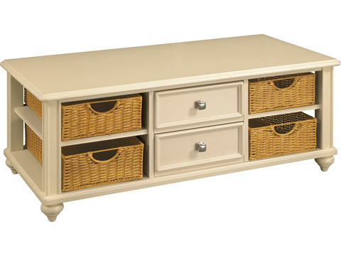 Image of Camden Cocktail Table with Wicker Storage Baskets