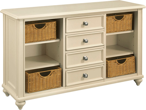 Image of Camden Console Table with Wicker Storage Baskets