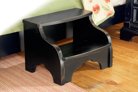 Image of Heirloom Black Distressed Footstool