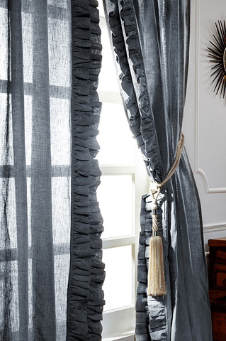 Image of Basillo Steel Blue Linen Curtains