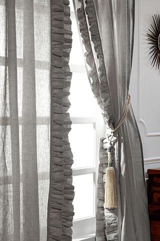 Image of Basillo Grey Chambray Linen Curtains