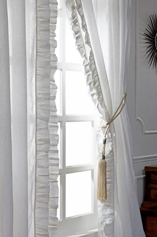 Image of Basillo White Linen Curtains