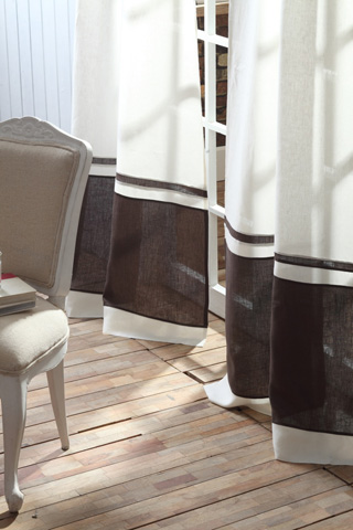 Image of Orfeo Linen Banded Curtain in Ivory and Charcoal