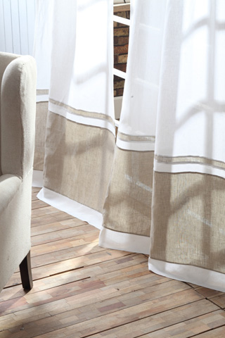 Image of Orfeo Linen Banded Curtain in White and Natural